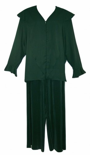 Kathryn Deene 3X-26/28 Dark Forest Green 2pc Polyester Pant Set-Pre-Owned