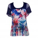 Style & Co 2X Watercolor Print Mesh Sleeves Sheer Top With Attached Tank-NWT