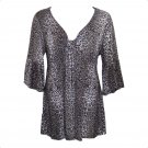 Yummy Plus 3X Charcoal Cheetah Print Empire Babydoll Top