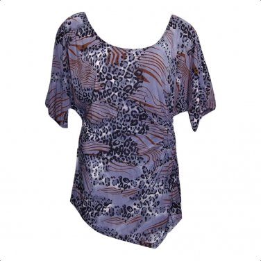 Yummy Plus 2X Dark Lavender Gray Animal Print Asymmetrical Top