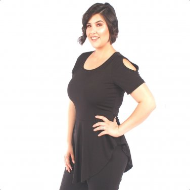 Yummy Plus 1X Black Cold Shoulder Curved Hem Peplum Top Blouse-New