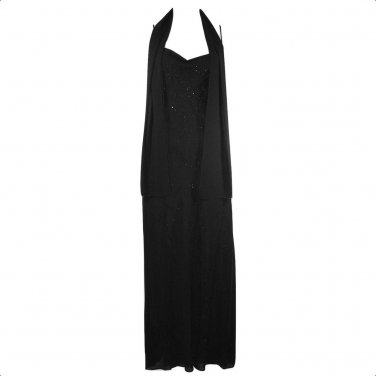 Dollar Brand 2X Black Embellished A-line Evening Gown Long Dress With Shawl Wrap