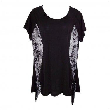 Yummy Plus 4X Black & Gray Tie Sides Short Sleeve Tunic Top