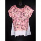 St. John's Bay 3X Georgia Peach Floral Short Sleeve Top-New