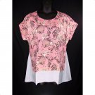 St. John's Bay 1X Georgia Peach Floral Short Sleeve Top-New