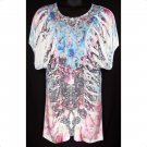Yummy Plus 2X Floral Sublimation Ruched Top-New