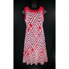 Dressbarn 16W Red Black White Fit & Flare Tank Dress-New