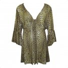 Yummy Plus 3X Olive Cheetah Print Empire Babydoll Top