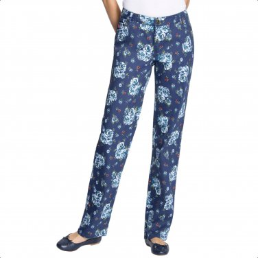Woman Within 5X-38W Indigo Floral Print Stretch Straight Leg Jeans