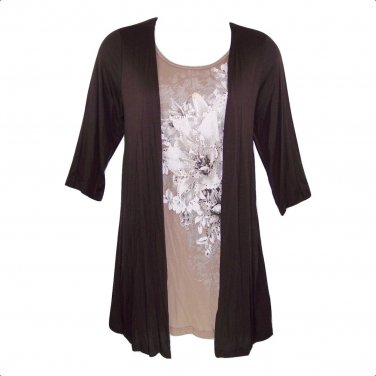 Yummy Plus 3X Brown 'Layer Look' 3/4 Sleeves Top-New