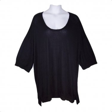 Woman Within 4X Black Hi-Lo Hem Sweater Top with Elbow Sleeves-New