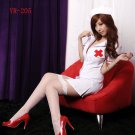 Free shipping Sexy Lingerie White Sexy Deep -V Open Lolita Nurse Cosplay Costume Dress