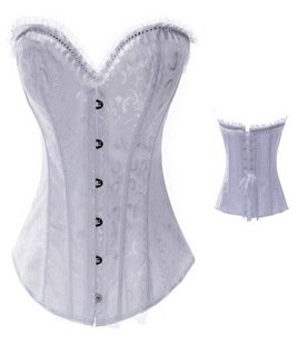 Free shipping sexy  Brocade Gorgeous Corset Bustier Lingerie white