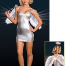 Free shipping Sexy Silver Fairy Tale Angel Costume Sexy underwear