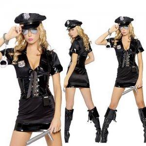 Free shipping Sexy Black Policewomen Costume Sexy underwear SIZE M