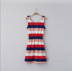 Free shipping New Lady Women's Sexy No Sleeve Rainbow Stripe Bowknot Dress