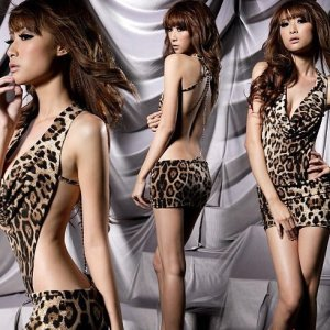 Sexy Ferity Lingerie Leopard Print Teddy Mini Dress +G-string Backless