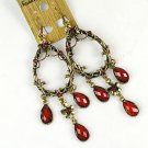 Korean Art Jewelry Alloy Garland Red Diamonds Earrings Eardrop