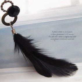 Korean Style Interlocking Feather Pendant Long Earrings Earring black