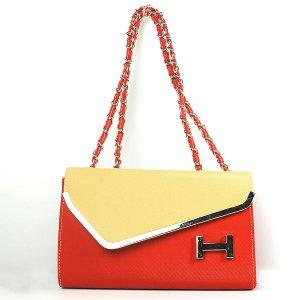 Women's Color Blocking H-shaped Embellished Casual Tote Handbag Shoulder Bag