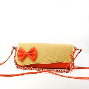 Women's Color Blocking Bowknot Embellished Casual Tote Handbag Shoulder Bag
