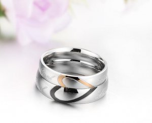 his and hers promise ring sets, Fashion Couple Stainless Steel band Rings For Lovers half heart