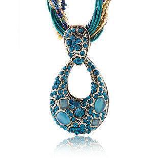 Diamond opal pendant sweater chain