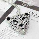 Rhinestone Leopard Tiger Head Sweater Necklace Chain S