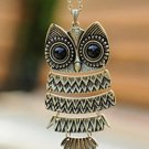 Vintage & Personalized PAMA Eyes 5 Parts Foldable Owl Bronze Necklace/ Long Sweater Chain