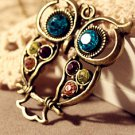 Multi-Color Rhinestones Night Owl Pendant Necklace/Long Sweater Chain for Lady