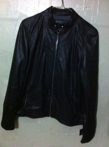 Women's soft Black Leather Lined Jacket Coat Medium