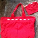 New LeSportsac Medium zip Tote & Case Tribeca Red Pepper USA