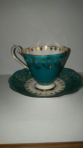 Royal Standard  Footed Cup & Saucer Teal White Gold color