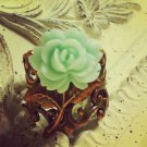 Copper Cabochon Mint Green Rose Flower Ring
