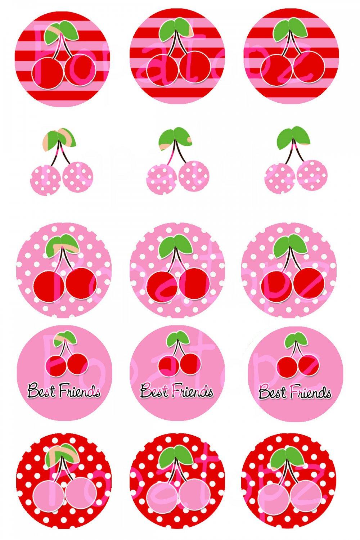 Cherry Girl Digital Bottlecap Images 1 Inch Circle