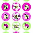 Spring Lady Bug Digital Bottlecap Images 1 Inch Circle
