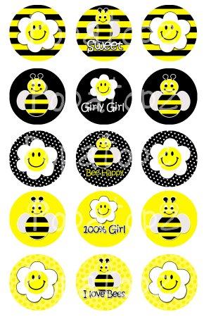 Bumble Bees Digital Bottlecap Images 1 Inch Circle