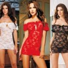 Rose stretch lace transparent sexy sleepwear