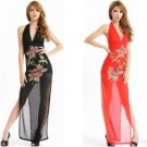 High-end women's sexy lingerie sexy long dress embroidered transparent