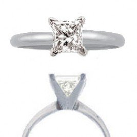 Princess cut solitaire ring 1cttw highest quality diamond 14k white gold