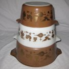 Vintage Pyrex Early Americana Nesting Cinderella Mixing Bowls Brown & Gold  free shipping!!!