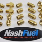 "BRASS 1/4"" NPT PIPE THREAD 3/8"" FLARE PROPANE LPG FITTING PACK 45º 90º SAE FLARE"