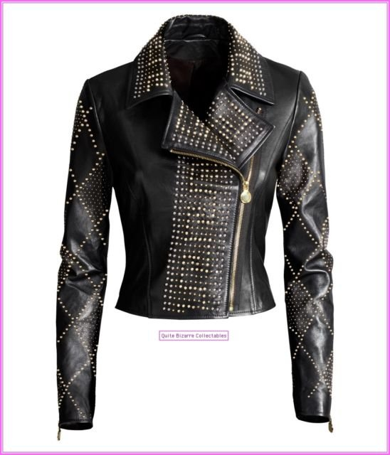 Versace for H&M Black Leather Biker Jacket with Studs UK 8 14 New with Tags BNWT