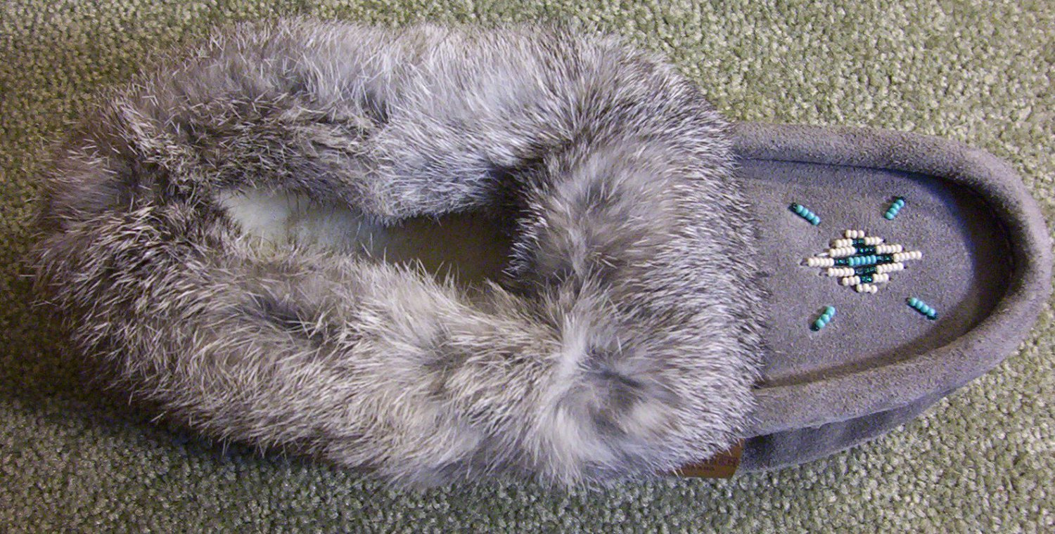 Tecumseh Moccasin Slippers Size 9 Charcoal