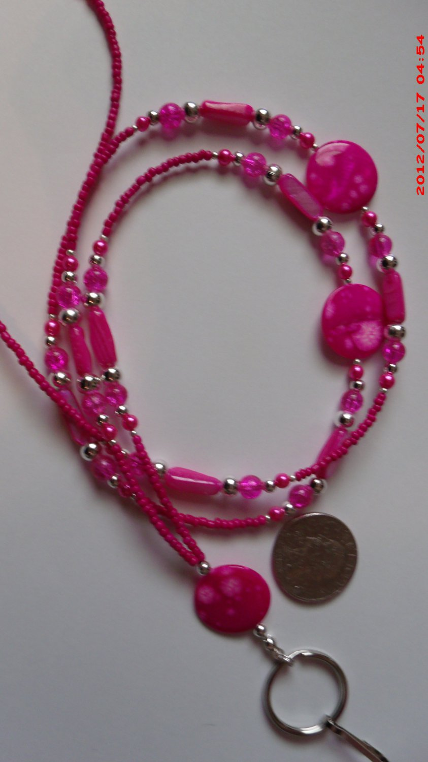 Hot Pink Mother of Pearl Beaded Lanyard ID Badge Holder