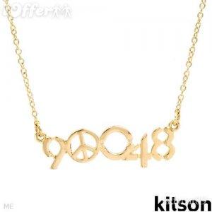AUTHENTIC KITSON LA ZIP CODE 90048 NECKLACE GOLD PLATED