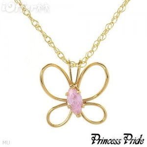 PRINCESS PRIDE Butterfly Pink CZ 14k Gold plated Necklace