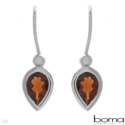***AUTHENTIC BOMA *** GARNET SILVER EARRINGS