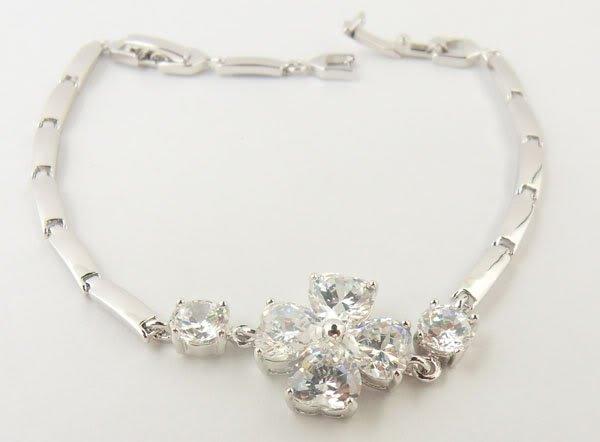 14K WHITE GOLD CLAD Clover Bracelet