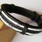 Adjustable Leather Bracelet with hemp string